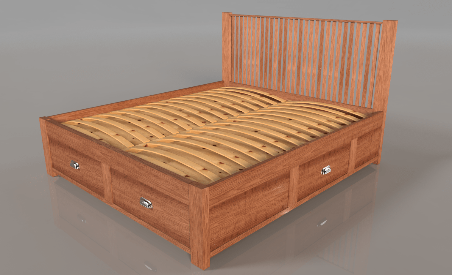 Handcrafted Solid-Wood Bed with Storage Drawers. Multiple Sizes and Woods