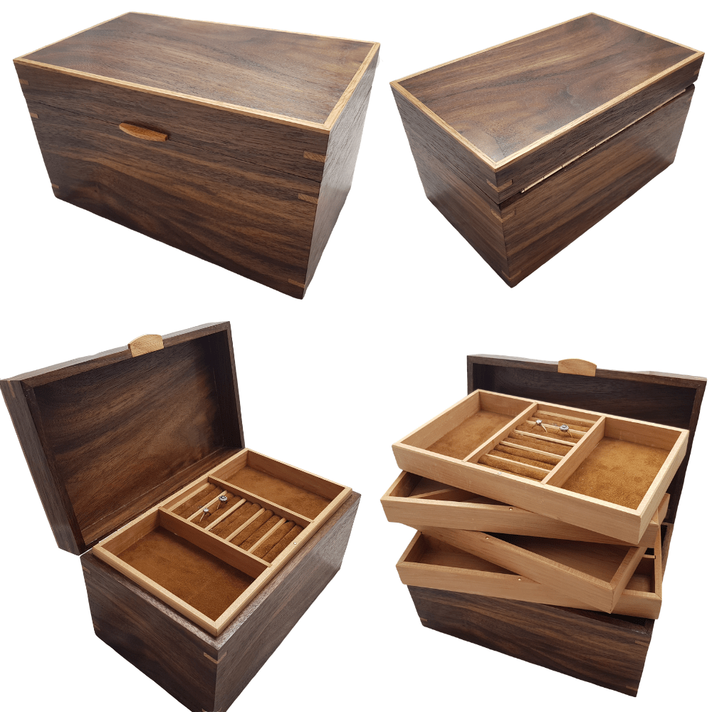 Black Walnut and Oak Jewellery Box Montage