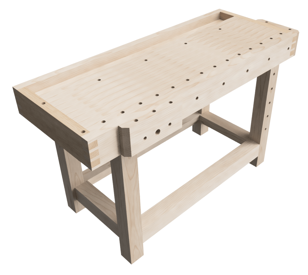Design of my woodworking workbench top and base, no drawers.