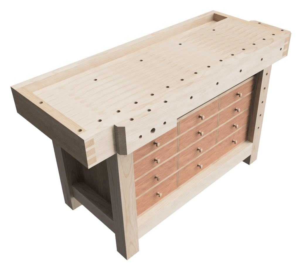 Design of my woodworking workbench top and base, with hand-tool storage drawers.