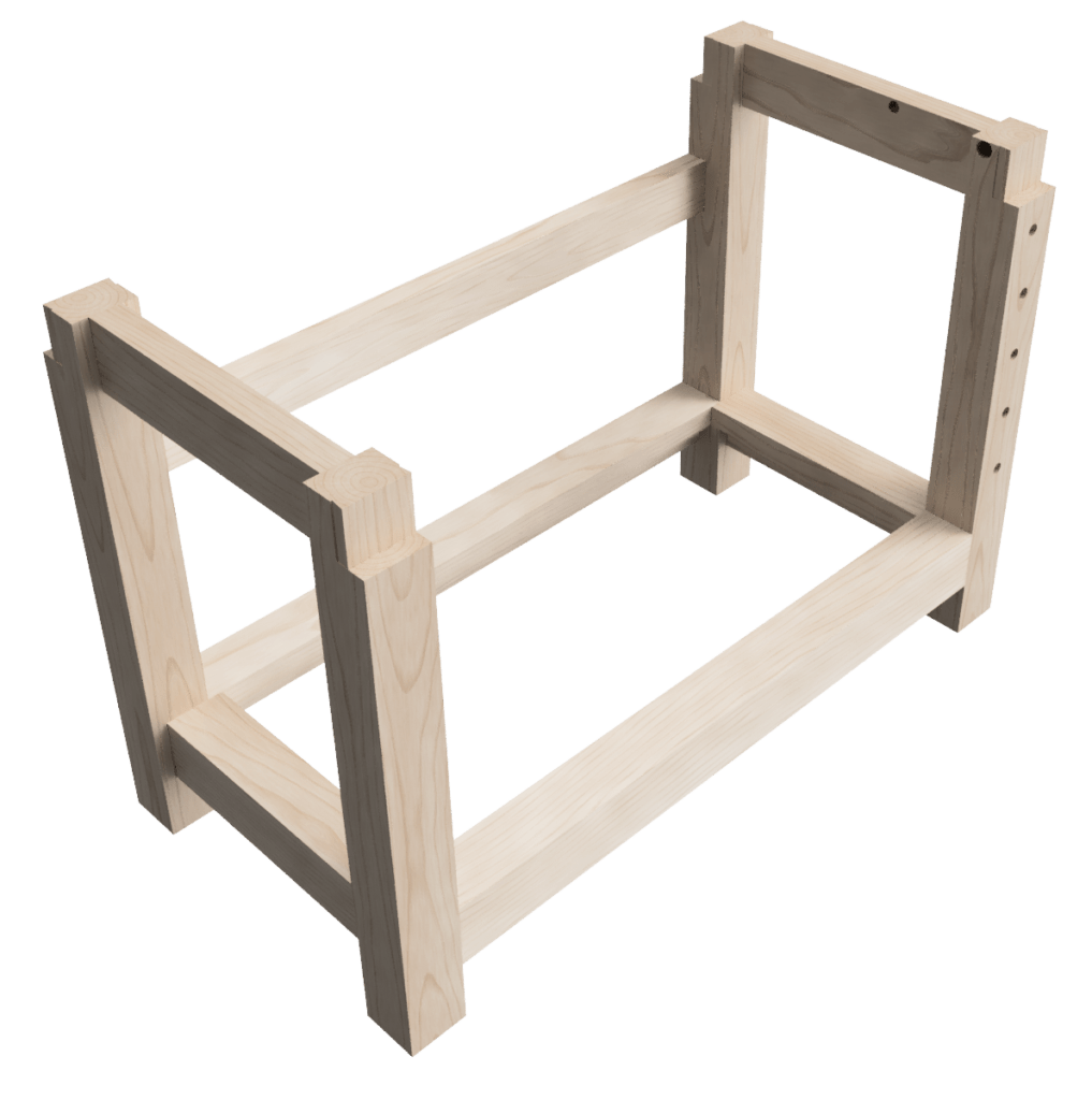Design of my woodworking workbench base with rear stretcher for additional racking prevention